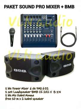 paket sound system power mixer PMX 602.D speaker BMB 8""