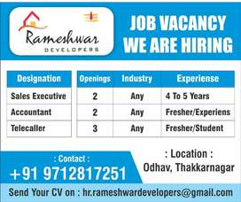 Vacancy for sales, telecaller and accountant