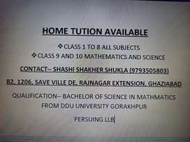 Class 1 to 8 home tution available