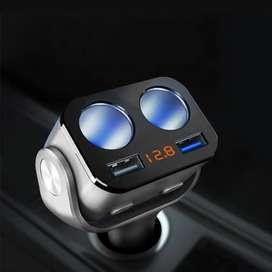 Accnic Car Charger 2 USB Port + 2 Cigarette Plug
