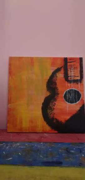 Guitar acrylic painting on canvous