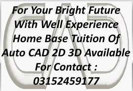 Auto CAD 2D 3D Designing Home Base Tuition Available