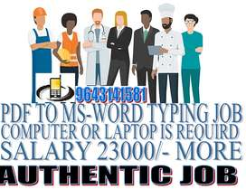 home based related job Typing and part only