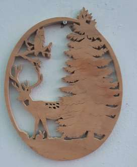 Hand Carved Home Decor Wall Hanging Scene Deer and Forest