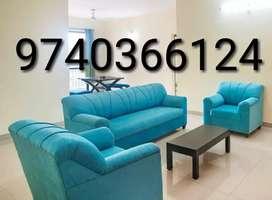 Aqua blue 3+1+1 seater sofa