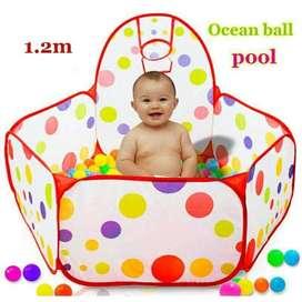 1m Tenda Pool with Hoop Mandi Bola Mainan Anak & Basket Ring