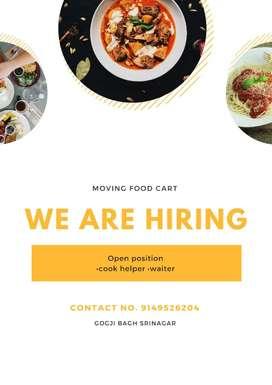 We are hiring helper and waiter