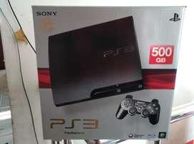PS 3 Slim Hdd 500 GB full 50 Game fullset 2 Stik mulus harga nego