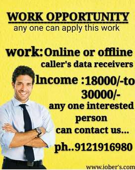 Online callers data receiver's