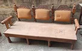 WOODEN SOFA & TEAK CENTER TABLE GOOD CONDITION - MHC, CHANDIGARH