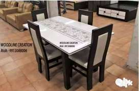 New Marble Top 4 Seater Dining Table With Four Chairs