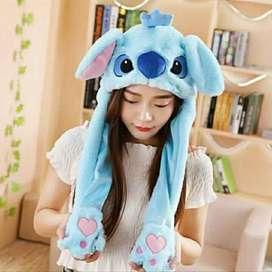 Topi kelinci Led gerak lucu Bunny hat dance - Stich Biru LED