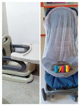 Stroller(baba gadi) and Feeding chair