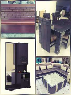 Double beds,sofa, dressing table, dining table, centre table