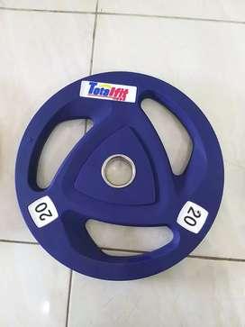 Rubber Plate 20kg Plat Beban Gym Beban Angkat Berat