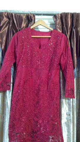 Maroon Net Shirt Azure Brand Sequence and Embroidery