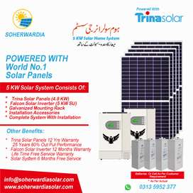 New 5 KW SOLAR SYSTEM, Trina Solar + Falcon Solar Inverter, 10 Years