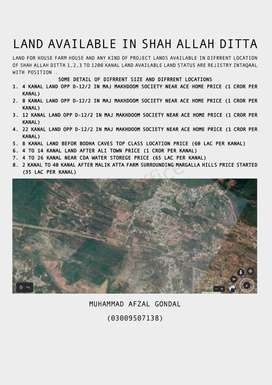 LAND AVAILABLE IN SHAH ALLAH DITTA LAND FOR HOUSE FARM HOUSE AND ANY