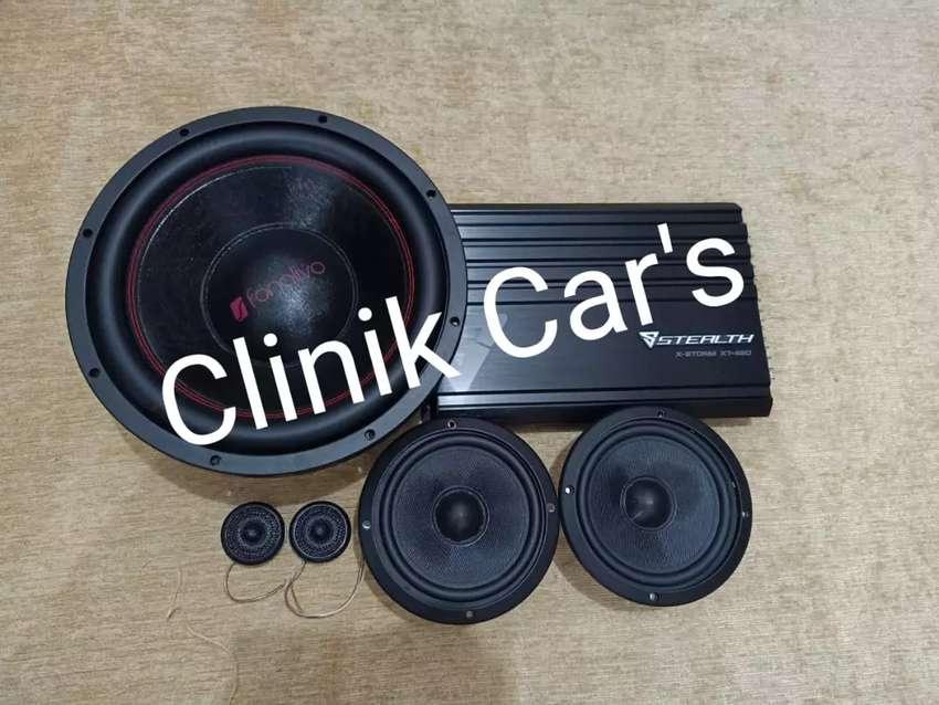 Salon mobil paket komplit bass power & speaker** 0