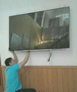 pemasangan jual BRACKET utk gantungan TV LED LCD di tembok nyaman kuat