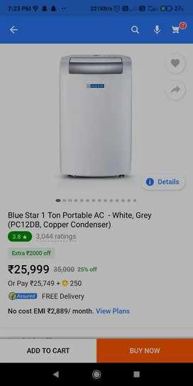 1 ton Portable ac (blue star)