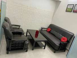 Sofa set with Centre table and Red Cushions