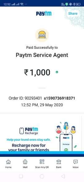 Paytm service agent work