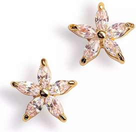Elegant cubic zirconia stud earrings for grils 1 karet gold plated