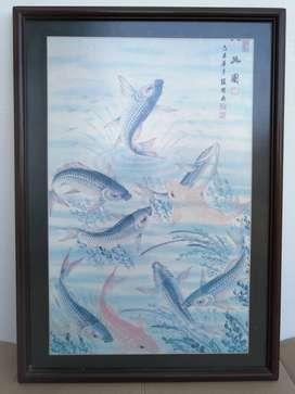 Lukisan 9 ekor ikan koi