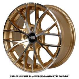 FREE ONGKIR VELG NAPLES H552 HSR R15X65 H4x100 ET38 GOLD-MF