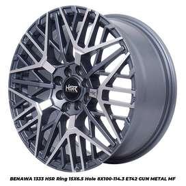 VELG MOBIL HSR TYPE BENAWA R15X65 PCD4X100/114 GMF BUAT BRIO,VELOZ,KIA