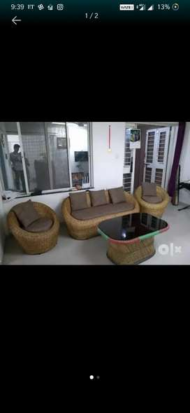 Cane sofa and king size bed