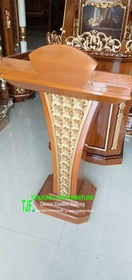 Mimbar masjid podium kayu jati