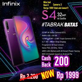 TERMURAH Infinix S4 6/64Gb BNIB grs resmi 1th cod Bdg kota Free Ongkir