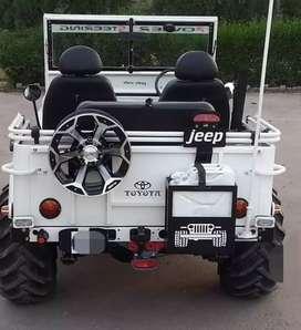 Modified landi white jeep