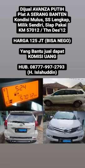 Dijual Santai Avanza Putih Plat A Serang Banten