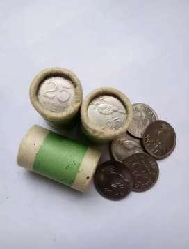 Uang koin kuno Rp 25 Rupiah burung tahun 1971 asli
