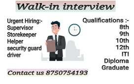 Urgent Hiring for Supervisor Helper loader security guard Storekeeper