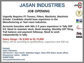 Urgently Require ITI, DME, BE Mech, Bcom with Tally