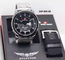 jam tangan swiss army aviation fullset include lengkap daydate mode on