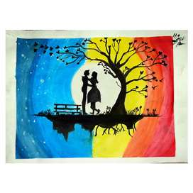 Couple romantic painting of posters colour