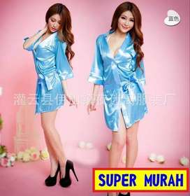 Baju Tidur Dress BIRU Bahan Lace Lengan Panjang Kulitas Import