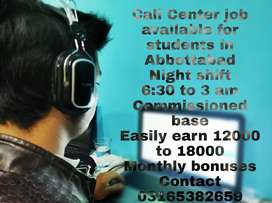 Call center night shift job for students in Abbottabad
