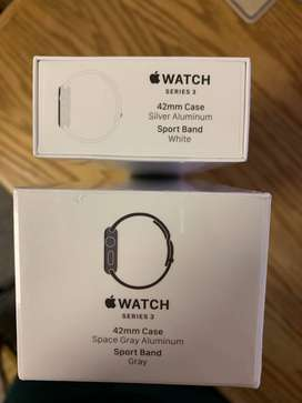 Apple Watch Series 3, 38mm, Silver, GPS with white Sports Band, Sealed
