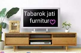 Meja tv retro moderen & elegan, laci 2, P.150cm, bahan kayu jati asli