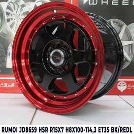 jual velg,RUMOI JD8659 HSR R15X7 H8X100-114,3 ET35 BK/REDL