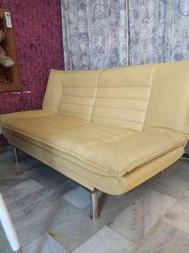 Edo Sofa Cum Bed - 3 Seater - Yellow Leather - Three Inclination Level