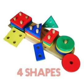 Puzzle Kayu Balok Murah- Geo 4 Bentuk