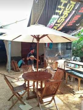Meja makan outdoor,meja cafe,meja taman jati,meja payung,kursi jati