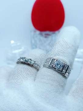 Cincin couple pasangan silver star studded
